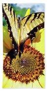 Butterfly Meets Sunflower Beach Towel