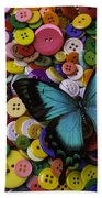 Butterfly On Buttons Beach Towel