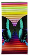 Butterfly On Colored Pencils Beach Sheet