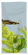 Butterfly On Flower Cluster Beach Towel