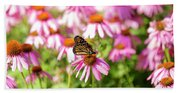 Butterfly On Flowers Beach Towel
