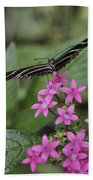 Butterfly On Pink Flowers Beach Towel