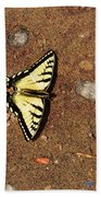 Butterfly On The Sand Two  Beach Towel