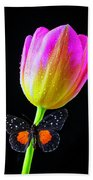 Butterfly On Yellow Pink Tulip Beach Towel