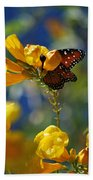 Butterfly Pollinating Flowers  Beach Towel