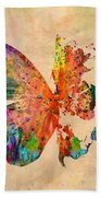 Butterfly World Map  Beach Towel