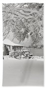 Cabin In Snow By The Sea Beach Towel