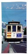 Cable Car 18 Heading Up The Hyde Street Line Beach Towel