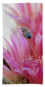Cactus Flower And A Busy Bee Beach Towel