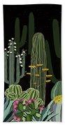 Cactus Garden At Night Beach Towel