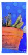 Cactus With Blue Dots Beach Towel