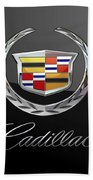 Cadillac - 3 D Badge On Black Beach Towel