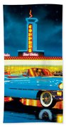 Cadillac Diner Beach Towel by MGL Studio - Chris Hiett