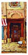 Cafe De Vieux Montreal With Couple Beach Towel by Carole Spandau