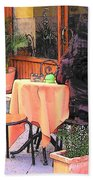 Cafe In Montepulciano Tuscany Beach Towel