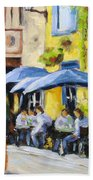 Cafe In The Old Quebec Beach Towel
