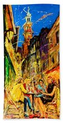 Cafe Of Amsterdam At Night  Beach Towel