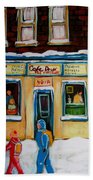 Cafe St. Viateur Montreal Beach Towel