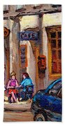 Outdoor Cafe Painting Vieux Montreal City Scenes Best Original Old Montreal Quebec Art Beach Towel