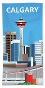 Calgary Alberta Canada Vertical Skyline Beach Towel