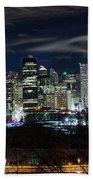 Calgary Skyline At Night Beach Towel