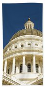 California Capitol Cupola And Flag Beach Towel