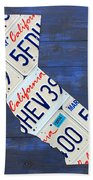 California License Plate Map On Blue Beach Towel by Design Turnpike