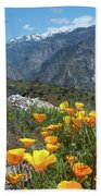 California Poppy And Mountain Panorama Beach Towel