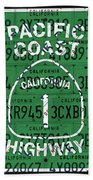 California Route 1 Pacific Coast Highway Sign Recycled Vintage License Plate Art Beach Towel