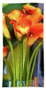 Calla Lilies Bouquet Beach Sheet