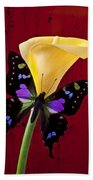 Calla Lily And Purple Black Butterfly Beach Towel by Garry Gay