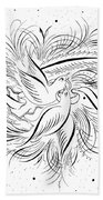 Calligraphic Love Birds Beach Towel