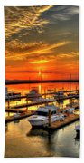 Calm Waters Bull River Marina Tybee Island Savannah Georgia Art Beach Towel