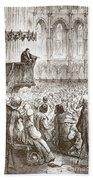 Calvin Preaching His Farewell Sermon In Expectation Of Banishment Beach Towel
