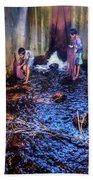 Cambodian Boys Netting Fish Beach Towel
