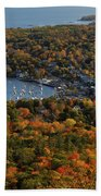 Camden Harbor In The Fall Beach Towel