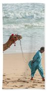 Camel Ride On Beach Beach Towel