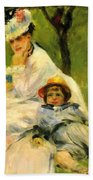 Camille Monet And Her Son Jean In The Garden At Argenteuil 1874 Beach Towel