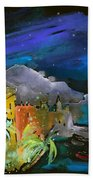 Camogli By Night In Italy Beach Towel