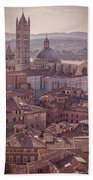 Campanile And Cathedral In Siena Italy Antique Matte Beach Sheet