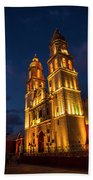 Campeche Cathedral At Evening Beach Towel