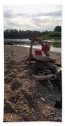 Campfire Cooking Soon - Indiana Canoeing Beach Towel