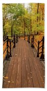 Canadian Autumnal Walkway Beach Towel