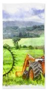 Canadian Farmland With Tractor Beach Towel