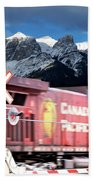 Canadian Pacific Trail Slices Through The Rockies Beach Towel
