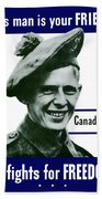 Canadian This Man Is Your Friend Beach Towel