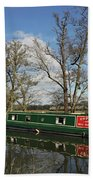 Canal Boat On Wey Navigations Beach Towel