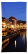 Canal Thorbeckegracht In Zwolle At Dusk With Boats Beach Towel