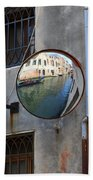 Canals Reflected In Mirrors In Venice Italy Beach Sheet