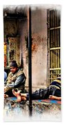 Candid Bored Yawn Pj Exotic Travel Blue City Streets India Rajasthan 1a Beach Towel